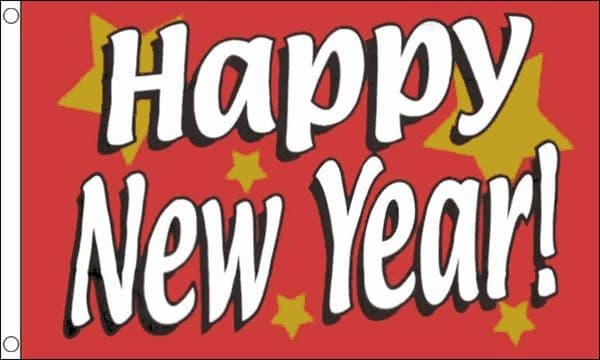 Happy New Year Flag 5ft x 3ft Banner Decorations Festive 100% Polyester Flags